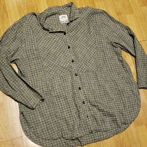 Flax lagenlook button front plaid linen tunic